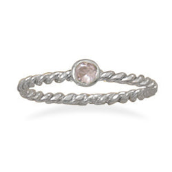 Pink Glass Stackable October Birthstone Ring