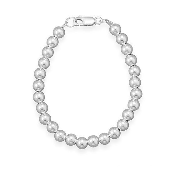 "8"" 6mm Sterling Silver Bead Bracelet"