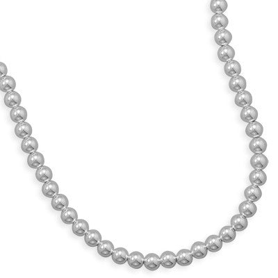 "30"" 8mm Sterling Silver Bead Necklace"