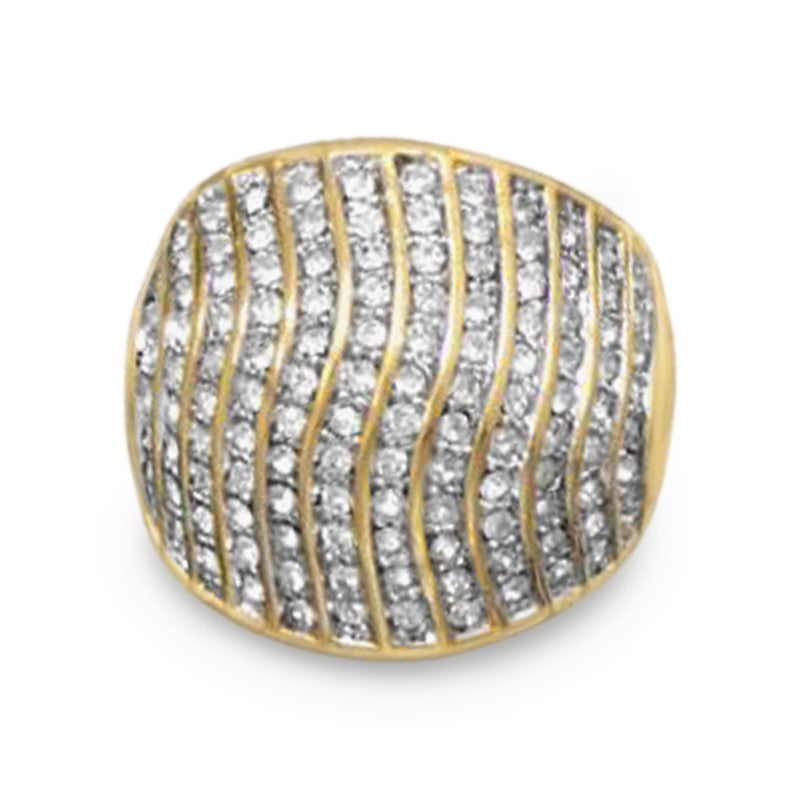 Domed 14 Karat Gold Plated Brass Ring with CZs