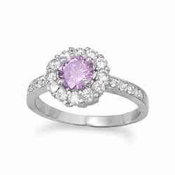 Lovely Lilac Rhodium Plated Brass CZ Ring