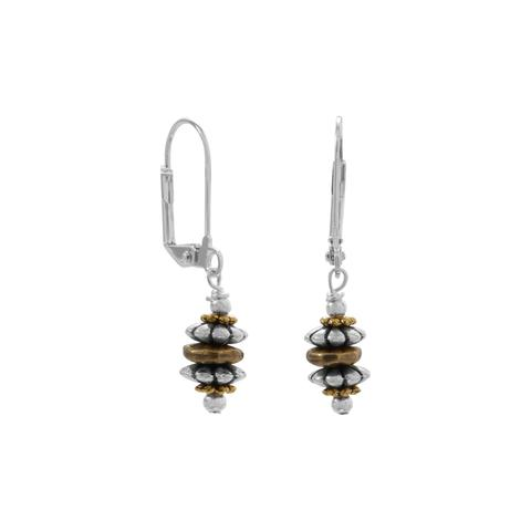 Two Tone Decorative Bead Fashion Earrings