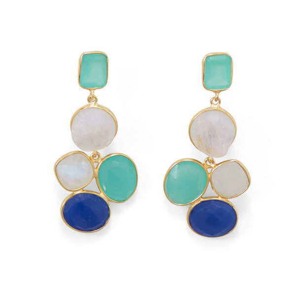 14 Karat Gold Plated Brass Multi Stone Fashion Earrings