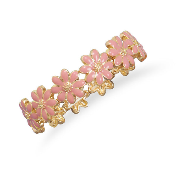 Gold Tone Fashion Stretch Bracelet with Pink Flowers