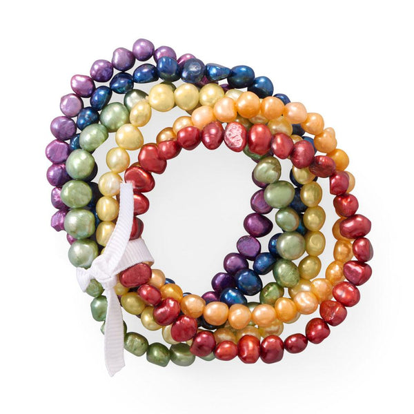 Rainbow Cultured Freshwater Pearl Bracelets