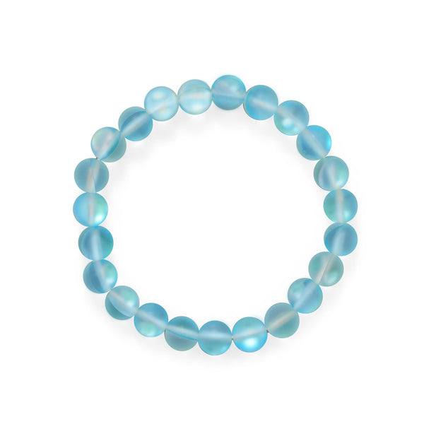 Beach Vibes! Light Blue Glass Stretch Bracelet