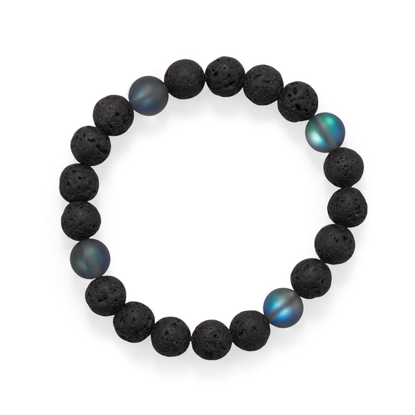 "8"" Black Lava and Glass Bead Stretch Bracelet"