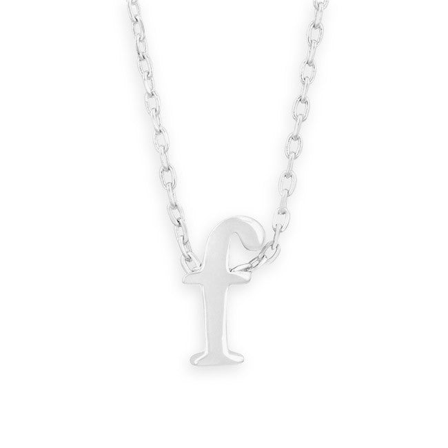 "16"" + 2"" Rhodium Plated Brass Initial ""f"" Necklace"