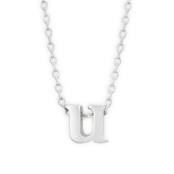 "16"" + 2"" Rhodium Plated Brass Initial ""u"" Necklace"