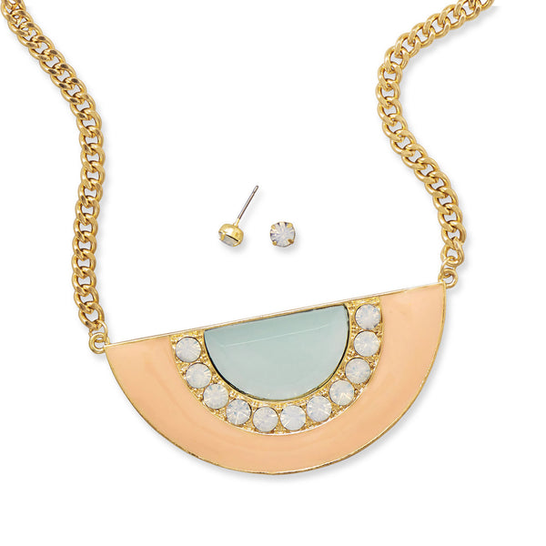 Mint and Peach Gold Tone Fashion Necklace and Earring Set
