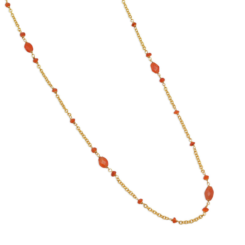 "36"" Ultra Long 14 Karat Gold Plated Brass Necklace with Carnelian Beads"