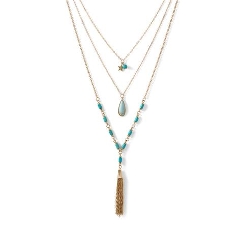 Gold Tone Brass and Dyed Magnesite Triple Strand Tassel Necklace