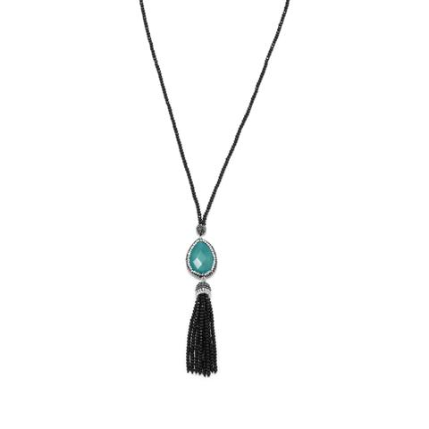 Black Crystal Fashion Necklace with Pear and Tassel Drop.