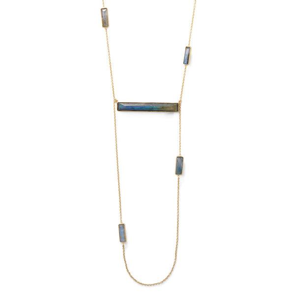14 Karat Gold Plated Brass Labradorite Bar Fashion Necklace