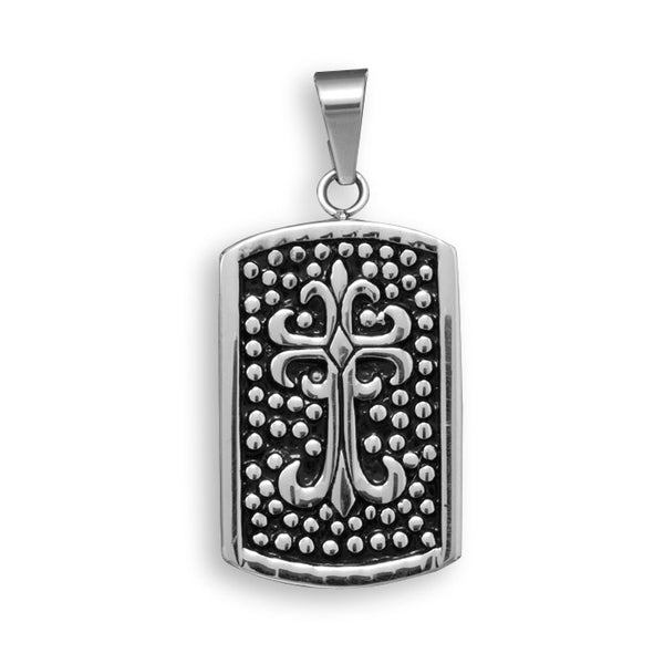 Stainless Steel Cross Design Tag Pendant