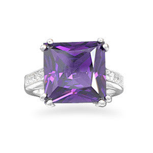 Silver Plated Brass Purple CZ and Crystal Fashion Ring