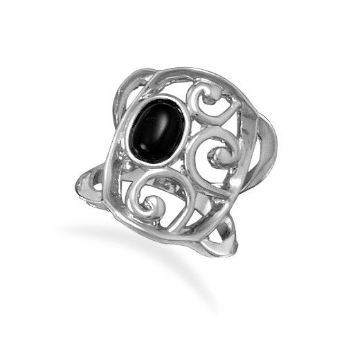 Rhodium Plated Brass and Black Agate Ring