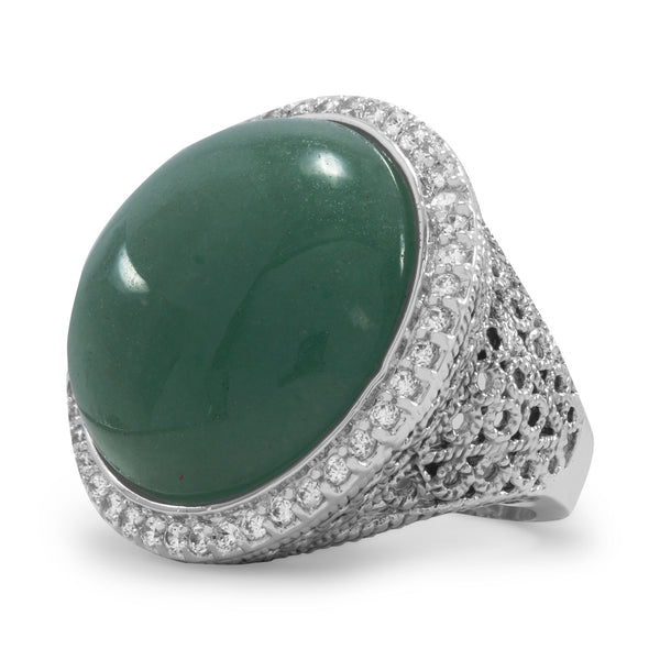 Silver Plated Brass Green Aventurine Ring