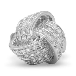 Rhodium Plated Brass Love Knot Ring with CZs