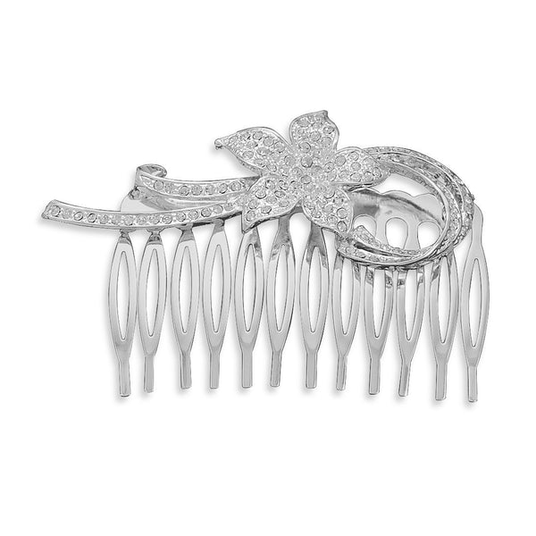 "3"" Silver Plated Fashion Hair Comb with Crystal Flower"