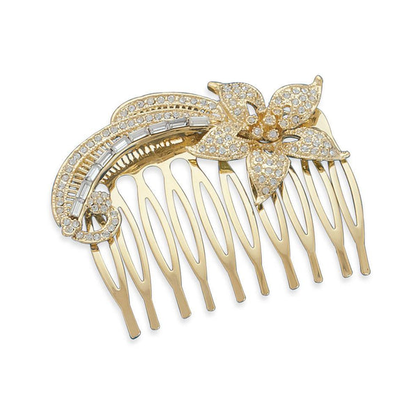 "2"" 14 Karat Gold Plated Fashion Hair Comb with Crystal"