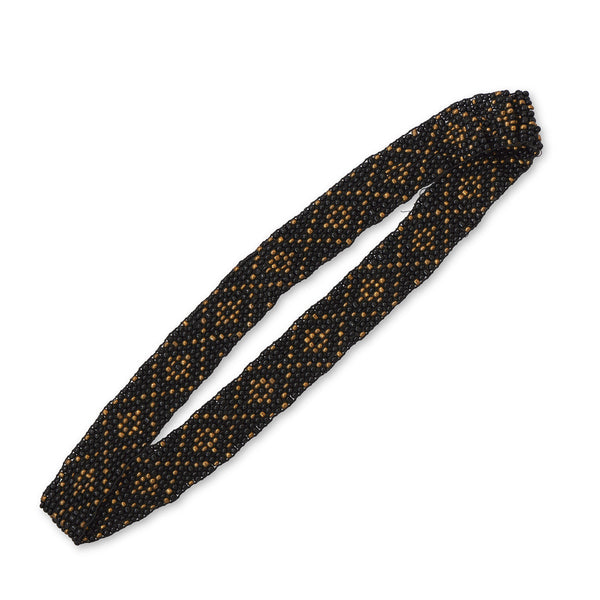 Black and Gold Diamond Pattern Stretch Fashion Headband