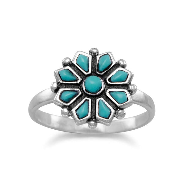 Crown Jewelry Sterling Silver Reconstituted Turquoise Flower Ring Women Jewelry Fashionable Flower Ring Birthday Dating Anniversary Wedding Beauty Gifts for Women and Girls