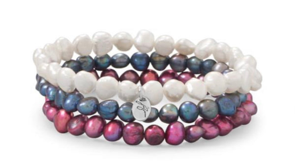 Contemporary Color Set of 3 Red, White and Blue Cultured Freshwater Pearl Stretch Bracelets