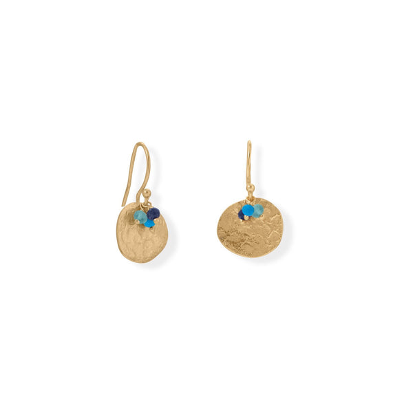14 Karat Gold Plated Apatite, Lapis and Synthetic Turquoise Disk Earring