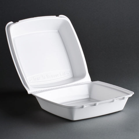 "9"" FOAM HINGED TO GO CONTAINER - 1 COMPARTMENT - WHITE"