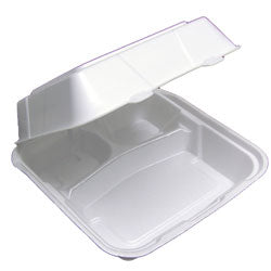 "8"" FOAM HINGE CONTAINER - 3 COMPARTMENT - WHITE"