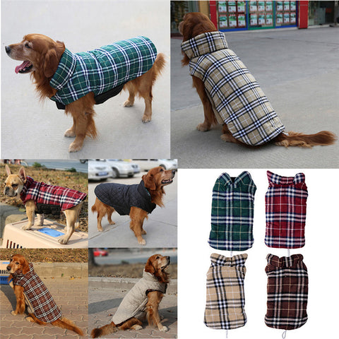 Reversible Design Plaid Dog Coats