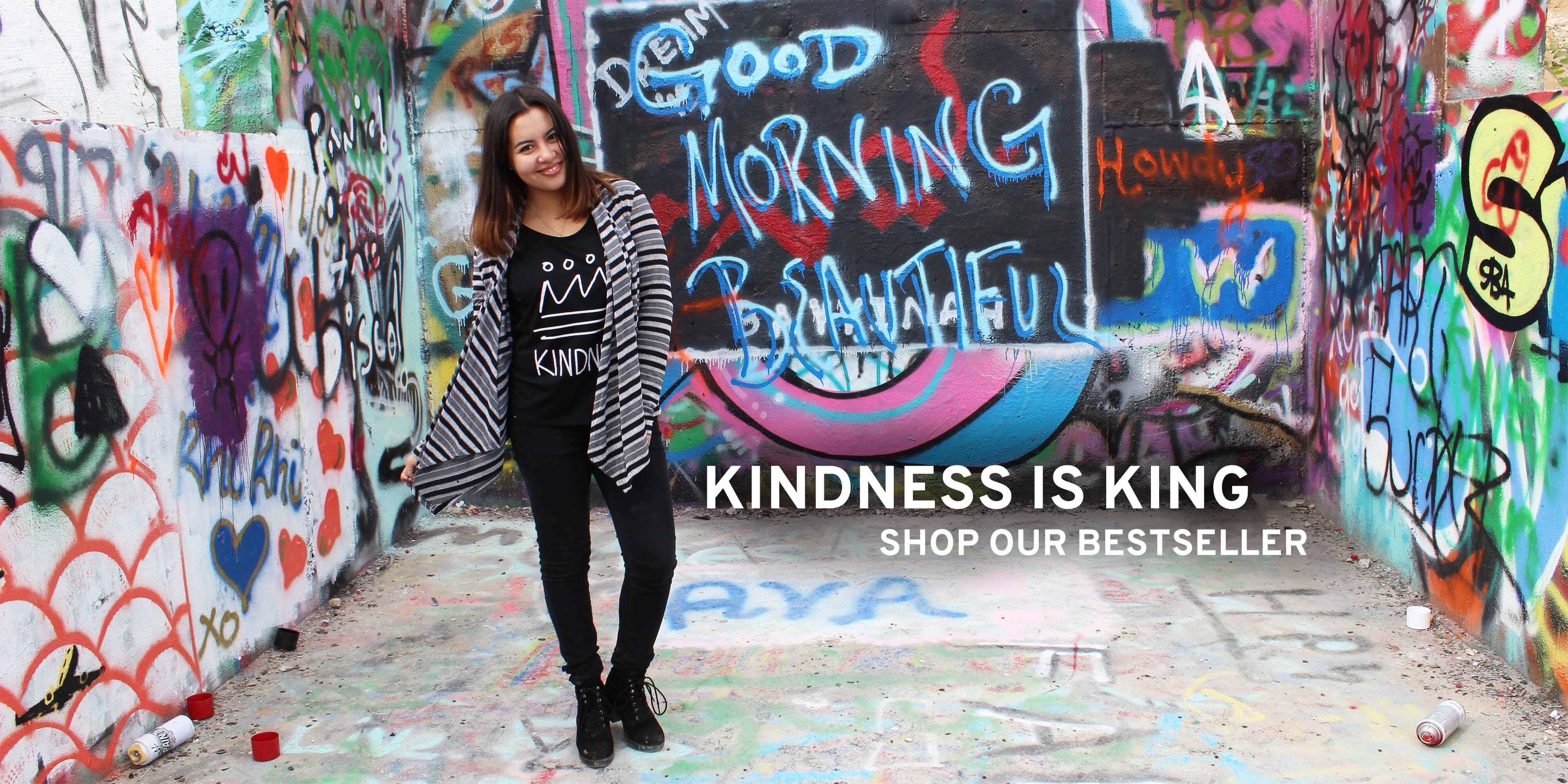 "Shop Freely Clothing's bestseller our 'Kindness is King"" tee!"