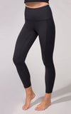 """Squat Proof"" Interlink High Waist 7/8 Ankle Legging with Ribbed Side Panels and Pockets - Womens Pants - 90 Degree by Reflex"