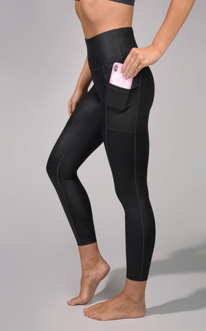 """SQUATPROOF""SUPER WIDE WAISTBAND ANKLE WITH SIDE POCKETS AND CHINTZ FINISH - Womens Pants - 90 Degree by Reflex"