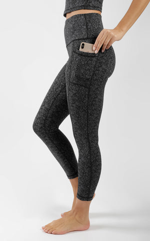 Jacquard High Waist Elastic Free Side Pocket 7/8 Ankle Legging