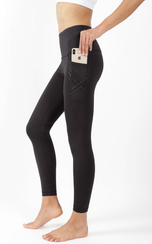 """Lux"" High Waist 7/8 Ankle Legging with Criss Cross Pocket"