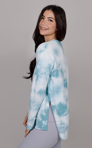 Tie Dye Brushed Crewneck Sweatshirt with Side Slits