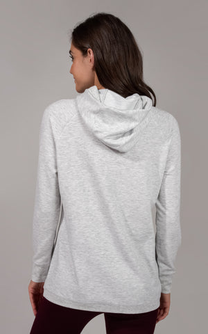 Terry Brushed Cowl Neck Long Sleeve Hoodie