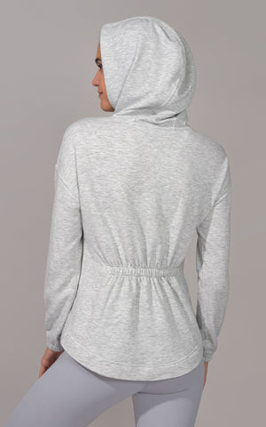 Terry Brushed Hoodie with Kangaroo Pocket and Back Shirring