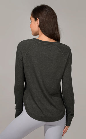 Terry Brushed Long Sleeve with Ribbed Side Panels