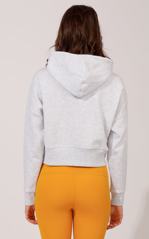 Pullover Cropped Hoodie with Ribbed Cuffs and Hem