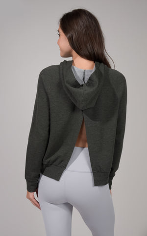 Terry Brushed Hoodie with Back Open Slit