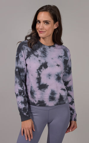 Tie Dye Long Sleeve Top with Ribbed Cuffs and Hem