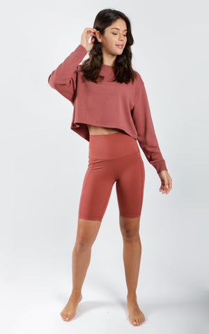 "Crew Neck Sweater and Super High Waist Elastic Free 9"" Short Set"