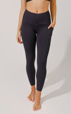 """Squat Proof"" Interlink High Waist 7/8 Ankle Legging with Back Curved Yoke"