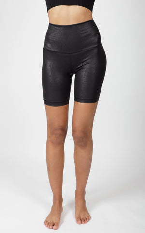 "Lux Faux Leather Elastic Free Super High Waist 7"" Short"