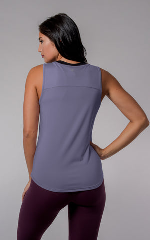 Nude Tech Sleeveless Tank with Curved Hem