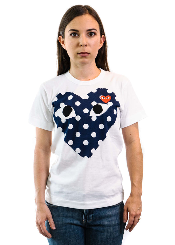 Play T-Shirt with Polka Dot Big Heart (White)