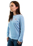 PLAY Color Series Little Red Heart Striped Long-sleeved T-Shirt (Blue/White)